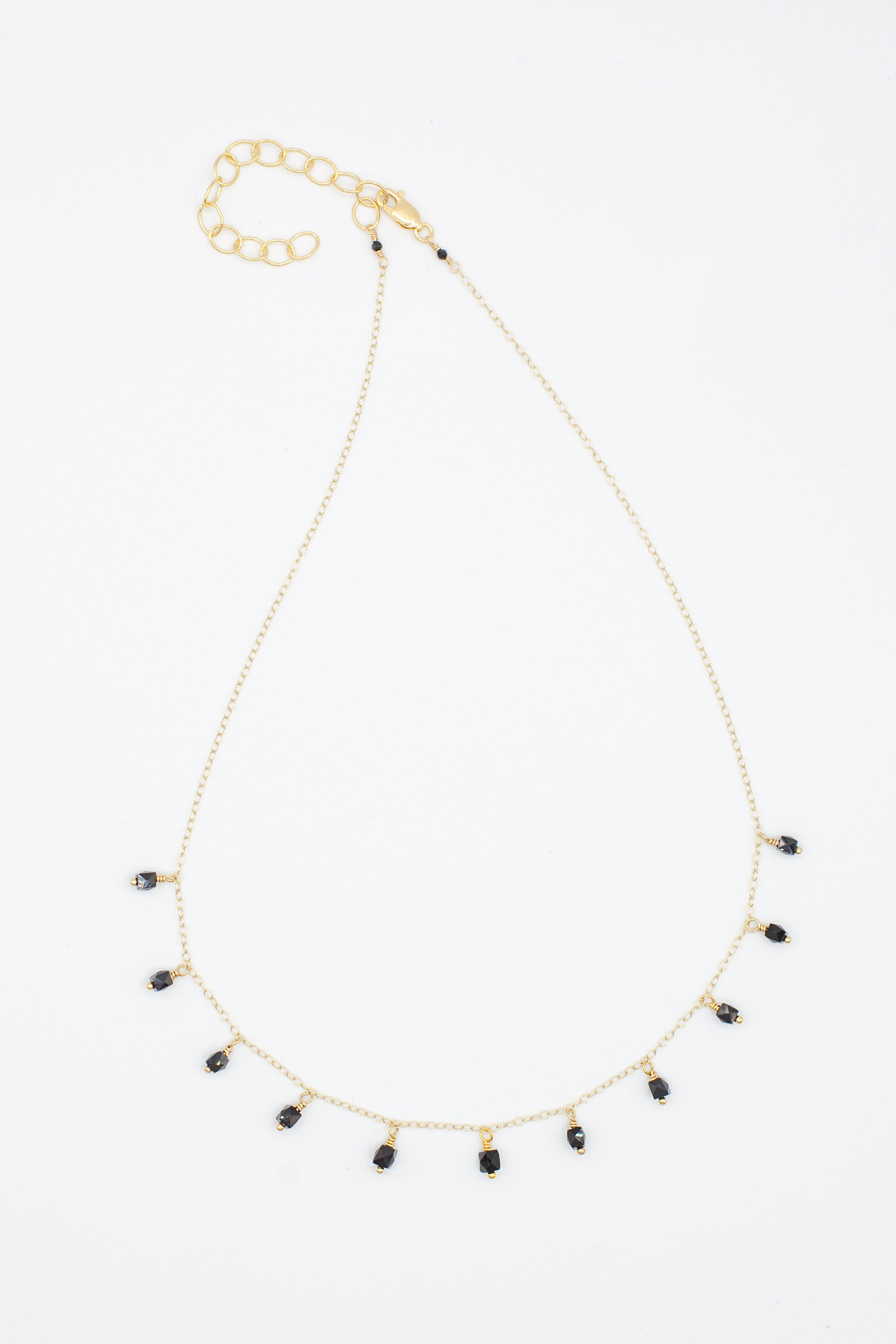 Multi drop black spinel necklace