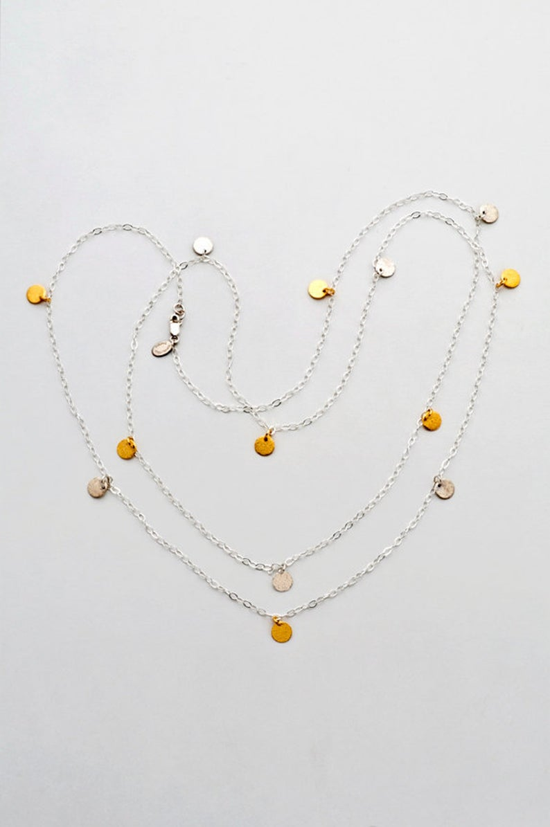 Two-Tone Silver and Gold Disc Necklace - 6377