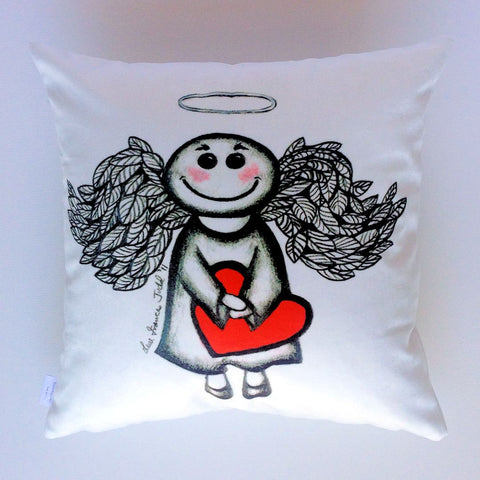 Support Brain Cancer Research ~ Angel Heart Plush Cushion Cover - Quirky Happy