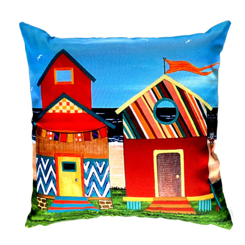 NEW DESIGN - Beach Huts no. 1 Outdoor Premium Cushion Cover - Quirky Happy
