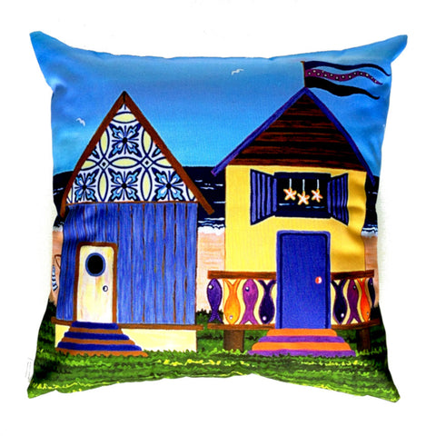 NEW DESIGN - Beach Huts no. 2 Outdoor Premium Cushion Cover - Quirky Happy