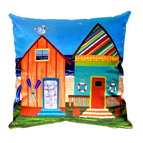 NEW DESIGN - Beach Huts no. 3 Outdoor Premium Cushion Cover - Quirky Happy