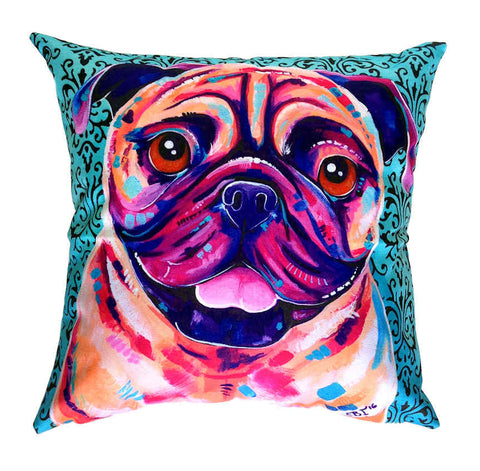 Billy Pug - Outdoor Premium Cushion Cover - Quirky Happy