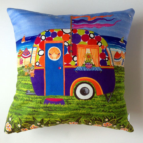 Caravan Holiday Betty-Sue Plush Cushion Cover - Quirky Happy