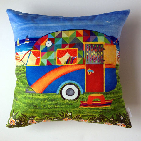 Caravan Holiday Bobby-Ray Plush Cushion Cover - Quirky Happy