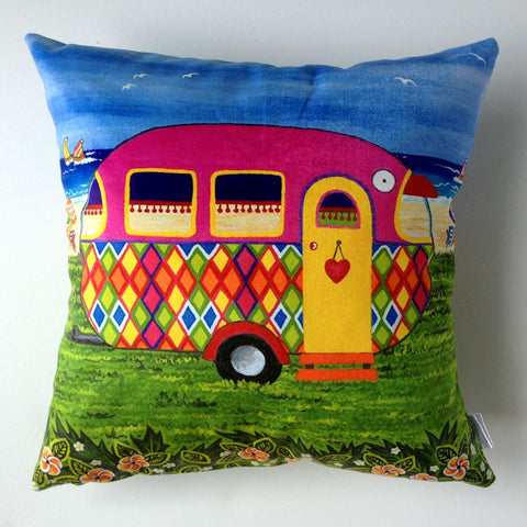 Caravan Holiday Mary-Jane Plush Cushion Cover - Quirky Happy