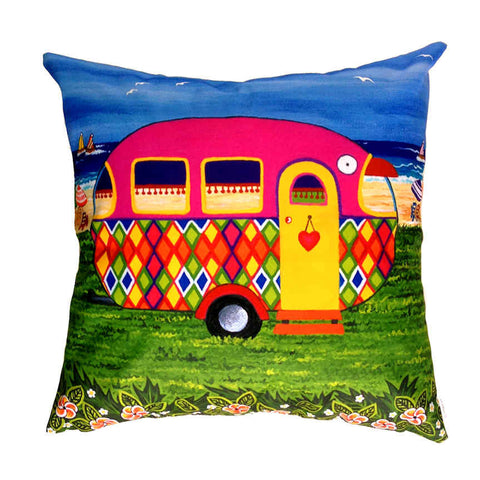 Caravan Holiday Mary-Jane - Outdoor Premium Cushion Cover - Quirky Happy