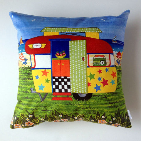 Caravan Holiday Ricky-Lee Plush Cushion Cover - Quirky Happy