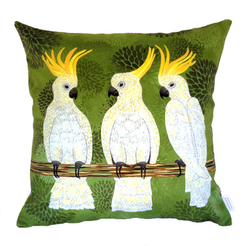 NEW DESIGN Cockatoos Plush Cushion Cover - Quirky Happy