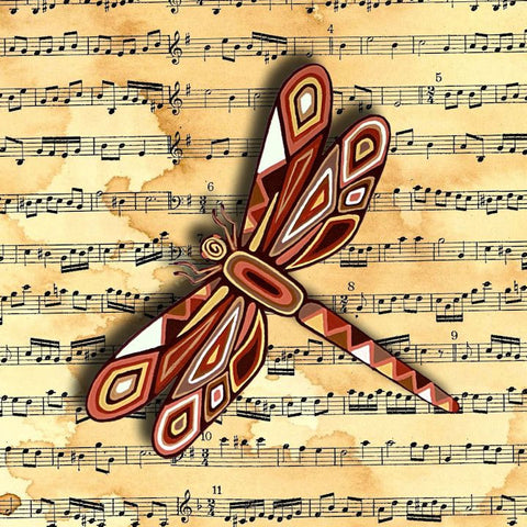 Dragonfly Sepia Music Sheet Canvas Wall Art - Quirky Happy - 1
