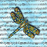 Dragonfly Blue Music Sheet Canvas Wall Art - Quirky Happy - 1