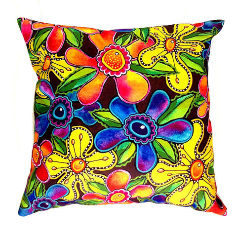 Funky Flowers - Outdoor Premium Cushion Cover - Quirky Happy