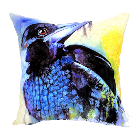Magpie Ink & Watercolour Plush Cushion Cover - Quirky Happy