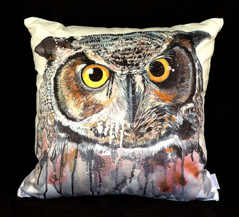 Owl Ink & Watercolour Plush Cushion Cover - Quirky Happy
