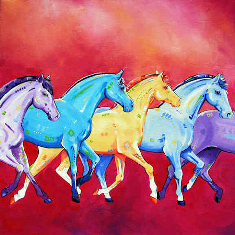 Parade Horses (colourful) Canvas Wall Art - Quirky Happy