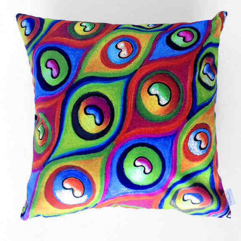 Peacock Eyes Abstract Plush Cushion Cover - Quirky Happy