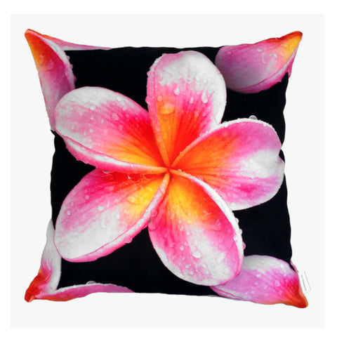 NEW Pink Frangipani Plush Cushion Cover - Quirky Happy