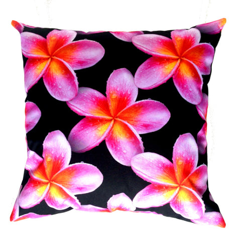 NEW DESIGN- Pink Frangipanis Outdoor Premium Cushion Cover - Quirky Happy