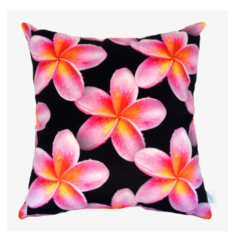 NEW Pink Frangipanis Plush Cushion Cover - Quirky Happy