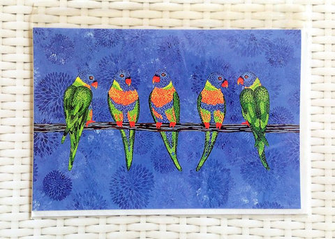 Rainbow Lorikeets Card - Quirky Happy