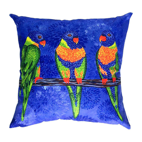Rainbow Lorikeets - Outdoor Premium Cushion Cover - Quirky Happy