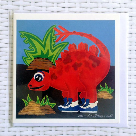 Red Dinosaur Card - Quirky Happy