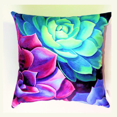 Succulent no. 4 Plush Cushion Cover - Quirky Happy