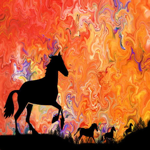 Sunset Running Horses Canvas Wall Art - Quirky Happy
