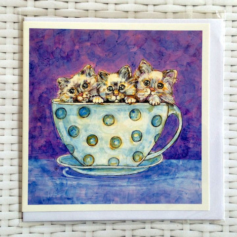 Teacup Kittens Card - Quirky Happy