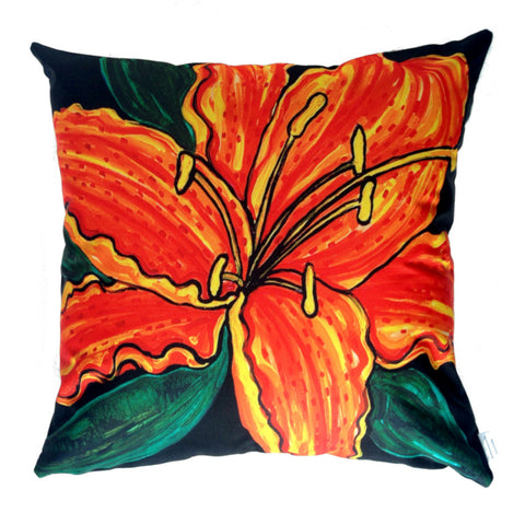NEW DESIGN- Tiger Lily Outdoor Premium Cushion Cover - Quirky Happy