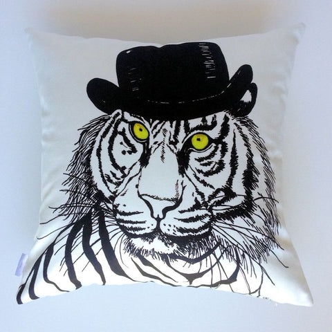 Top Hat Tiger Plush Cushion Cover - Quirky Happy