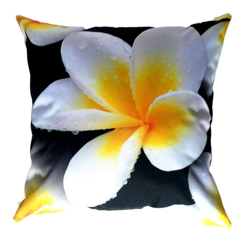 NEW DESIGN- White Frangipani Outdoor Premium Cushion Cover - Quirky Happy