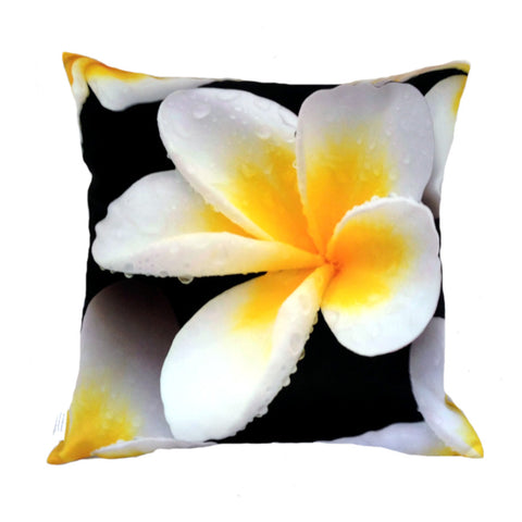 NEW White Frangipani Plush Cushion Cover - Quirky Happy