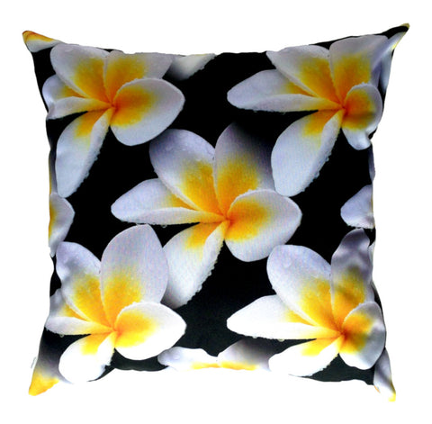 NEW DESIGN- White Frangipanis Outdoor Premium Cushion Cover - Quirky Happy