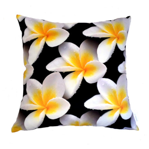 NEW White Frangipanis Plush Cushion Cover - Quirky Happy