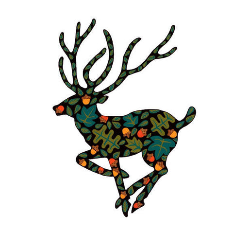 Woodland Deer (facing Left) Canvas Wall Art - Quirky Happy - 1