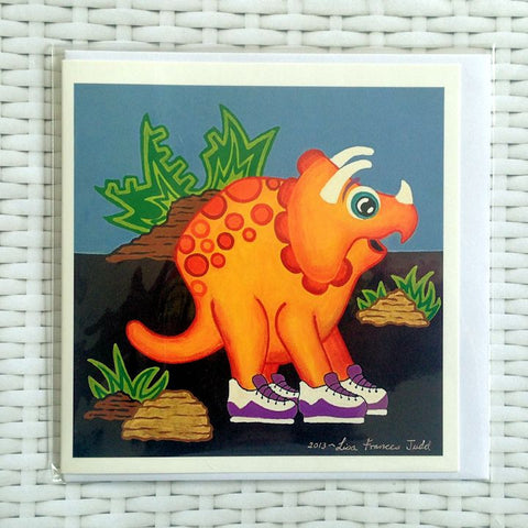 Yellow Dinosaur Card - Quirky Happy