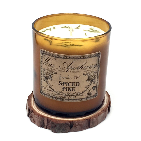 9oz Spiced Pine Artisan Amber Glass Candle