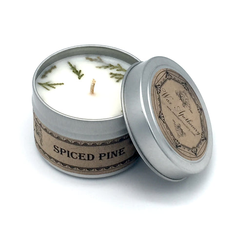 Spiced Pine 4oz Botanical Candle Travel Tin