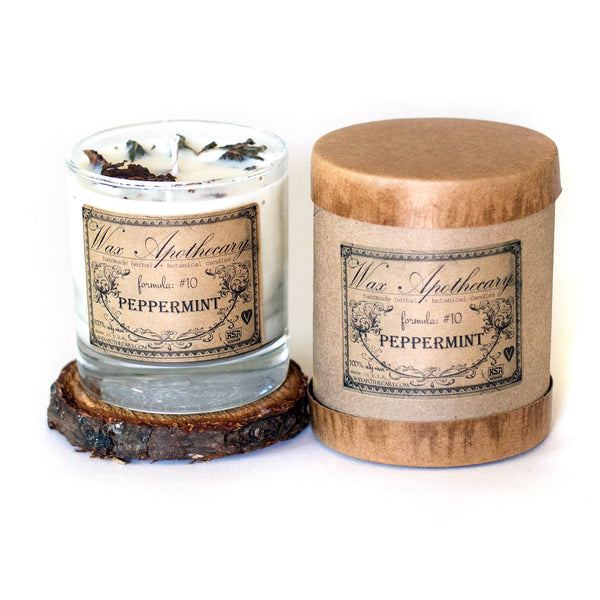 Peppermint 7oz Botanical Candle in Scotch Glass