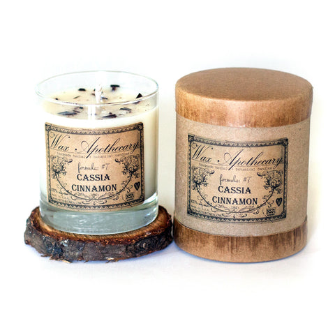 Cassia Cinnamon 7oz Botanical Candle in Scotch Glass