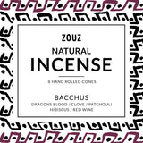 Handmade BACCHUS BLEND - DRAGON'S BLOOD / PATCHOULI / HIBISCUS / CLOVE / SANDALWOOD Incense