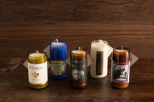 Load image into Gallery viewer, Medium Upcycled Glass Bottle Soy Wax Candle (75+hours)