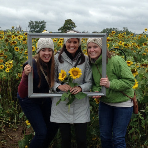Friends and sunflowers
