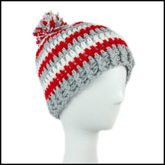 Ohio State Hat OSU Beanie Buckeys Handmade Scarlet and Gray