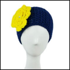 Navy blue earwarmer with yellow flower University of Michigan