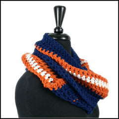 Denver Broncos Scarf Infinity Colorado Burnt Orange Navy Blue NFL Football Tailgate