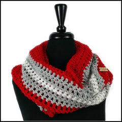 Red, light gray, and white infinity scarf Ohio State Buckeyes OSU Columbus Ohio