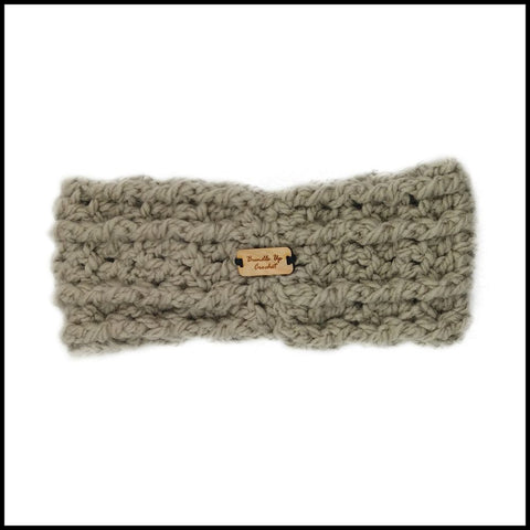 Taupe Chunky Criss Cross Earwarmer - Bundle Up Crochet - 4