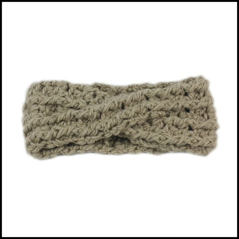 Taupe Chunky Criss Cross Earwarmer - Bundle Up Crochet - 3